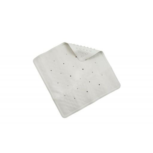 New Croydex Rubber Square Shower Mat 53cm x 53cm Cream AG183622