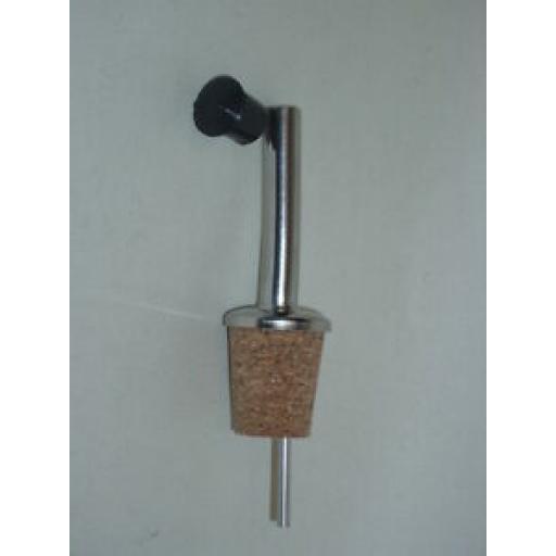 CKS Metal Olive Oil Spirit Pourer Spout Drizzler Cork Black Pull Stopper