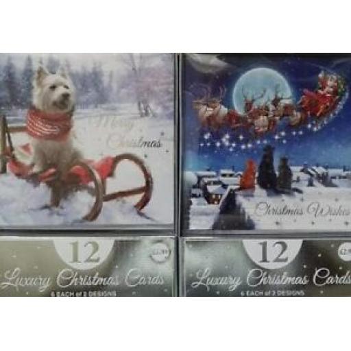 Eurowrap Luxury Christmas Cards Animals Pk 12