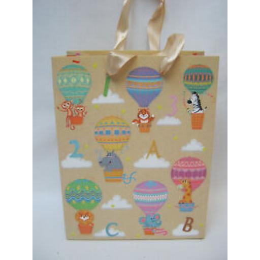 "Medium Birthday Gift Present Bag Pk 10 Bags Balloons 7"" x 9"""