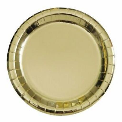 Unique Round Paper Plates 21.5cm Pk 8 Foil Silver Heavy Duty 32285