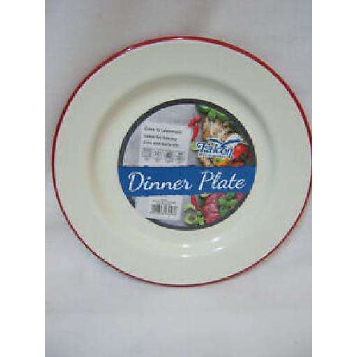 Falcon Enamel Round Pie Baking Dinner Plate Cream With Red Trim 20cm