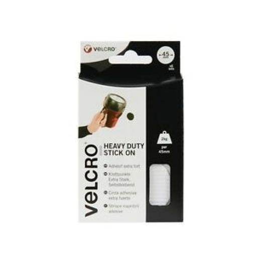Velcro Stick On Heavy Duty Giant Coins Discs White 45mm White 60249 Pk6