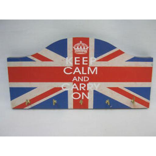 Lesser And Pavey Union Jack Key Rack Keep Calm And Carry On LP20481 5 Hooks