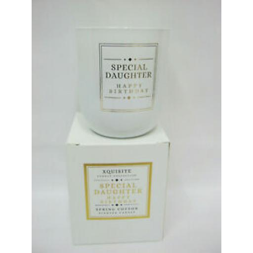 Xquisite Spring Cotton Scented Candle Glass Jar Happy Birthday Special Daughter