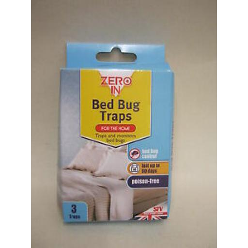 STV Zero In Bed Bug Bugs Traps Poison Free Lasts Up To 60 Days Pk3 ZER967