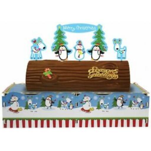 Amscan Joyful Snowman Yule Log Cake Board Stand 996774