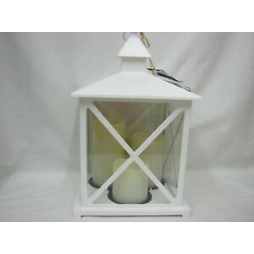 Kaemingk LED Plastic Lantern With 3 Candles & Timer White 41cm 9482427