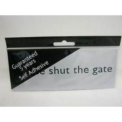 Please Shut The Gate Self Adhesive Name Plate Sign Plaque Silver MEP42