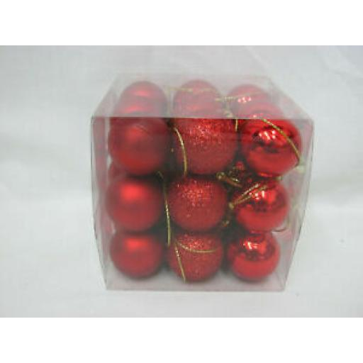 Small Christmas Tree Baubles Pk 18 Red 25mm