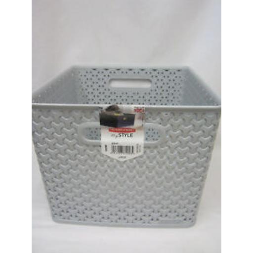 Curver My Style Deep Large Storage Basket Handle Plastic 232280 Grey 18 Ltr