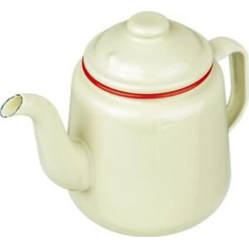 Falcon Enamel 14cm 1.5ltr Teapot Camping Cream With Red Trim