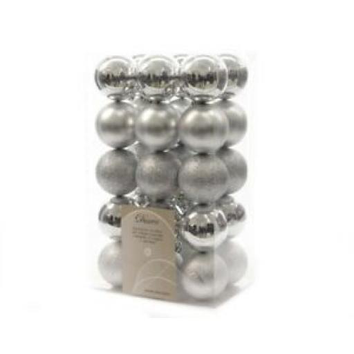 Decoris Kaemingk Baubles 60mm Silver Pk30 340709