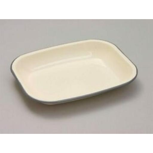 Falcon Enamel Mini Bakepan Roasting Dish Bake Pan 26cm x 21cm Cream & Grey Trim