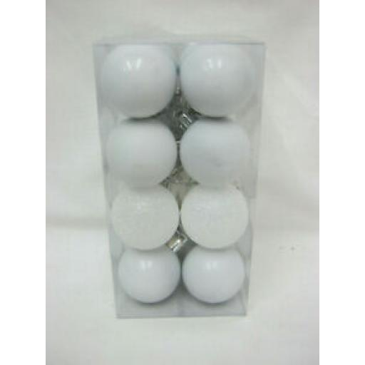 Assorted Christmas Baubles Pk 16 White 28mm