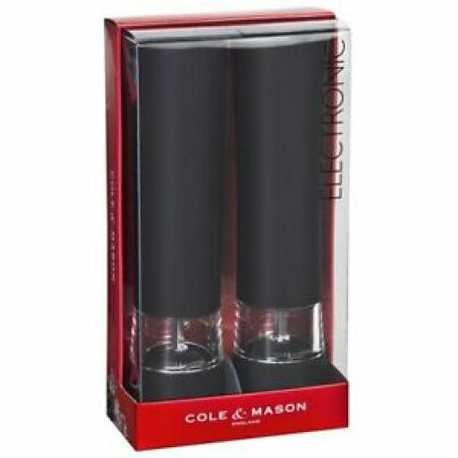 Cole And Mason Electronic Salt Pepper Mill Set Black Victoria H798880