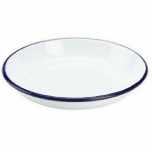 Falcon White Enamel Round Pie Rice Plate Baking Dish Tin 24cm