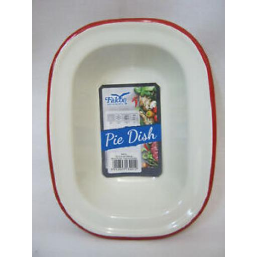 Falcon Cream Enamel Oblong Pie Baking Dish Tin With Red Trim 16cm 644016