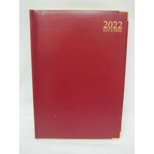 Tallon Day A Page Diary A4 2022 Padded Back Gilded Edge Red