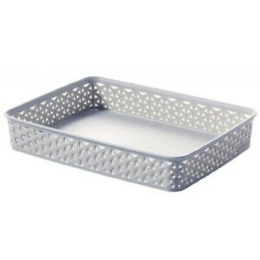 Curver My Style Storage Basket Handle Plastic Medium Grey A4 Tray