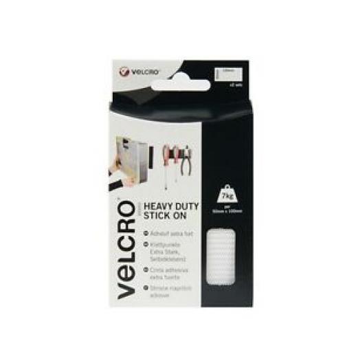 Velcro Heavy Duty Stick On Strips 50mm x 100mm White 60240