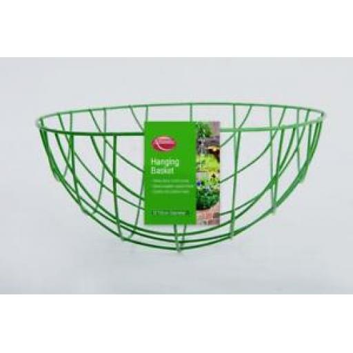 """Supagarden Wire Green Hanging Basket With Chain 12"""" 30cm SHB12"""