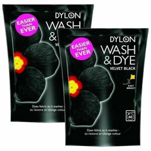 2 X Dylon Wash & Dye Velvet Black Fabric Machine Dye Pouch