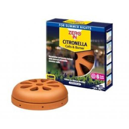 STV Zero In Citronella Decorative Terracotta 6 Coils And Burner STV420