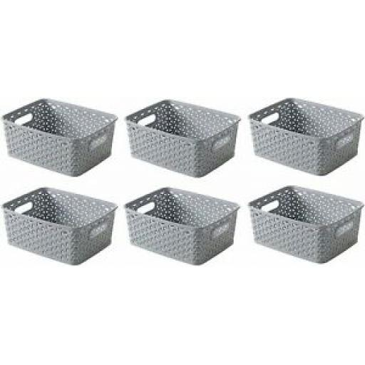 Curver My Style Storage Basket Handle Plastic Small 232281 Grey 4 Ltr Set 6