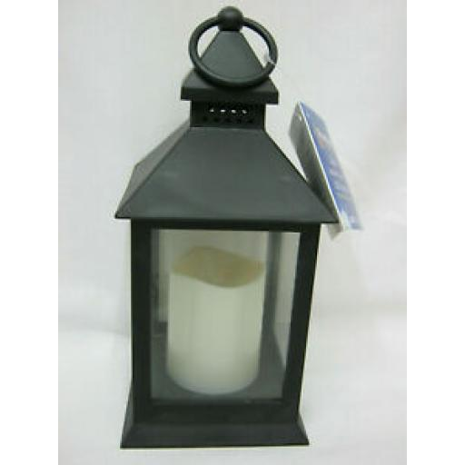 Premier With Amber LED Candle 24cm Black Battery Operated LB161623