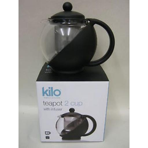 Cks Kilo Glass Teapot With Infuser 2 Cup Black Body Tea Pot D06