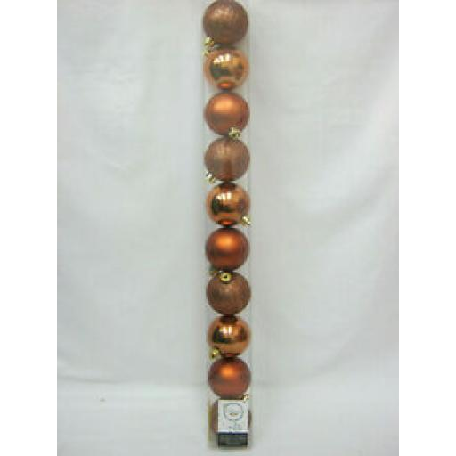 Decoris Kaemingk Assorted Baubles 60mm Rusty Brown Copper Pk10