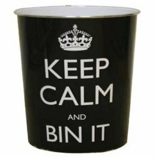 JVL Plastic Waste Paper Bin Keep Calm And Bin It Black And White 16-117