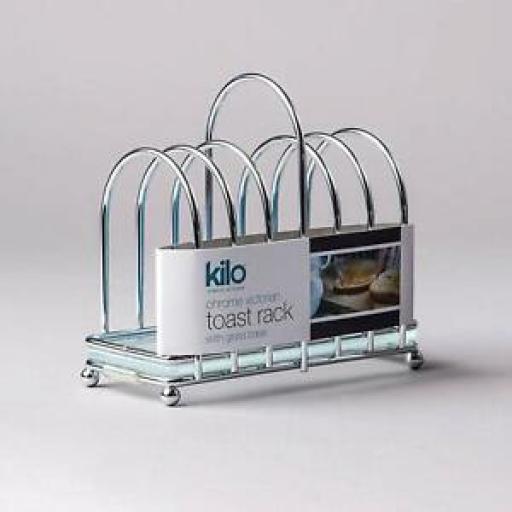 Kilo Chrome Victorian Shaped Toast Rack With Glass Crumb Tray BA87