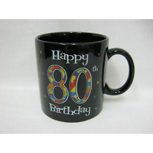 BGC Jumbo Black Mug Beaker Coffee Tea Cup Happy 80 th Birthday 1 Pint