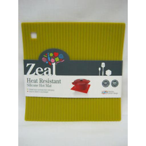 CKS Zeal Heat Resistant Silicone Kitchen Hot Mat Square Trivet J238 Mustard 18cm