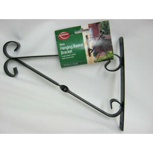 """Ambassador Garden Hanging Basket Bracket 10"""" 25cm Black 503036"""