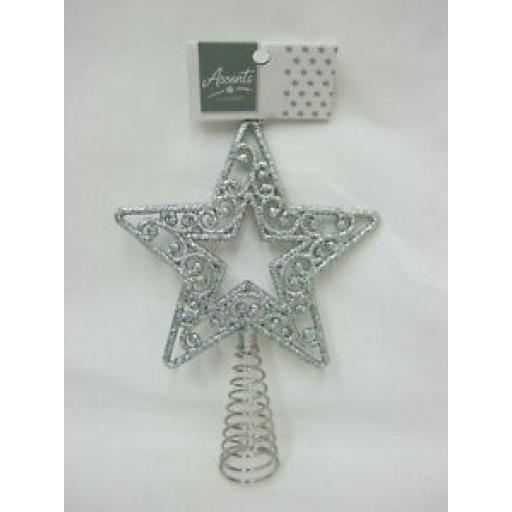 Premier Accents Star Christmas Tree Top Topper Silver Glitter AC176473