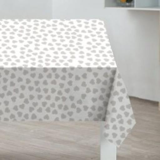 Sabichi Table Cover Cloth Oblong 178cm x 132cm PVC Coated Grey Hearts 186621