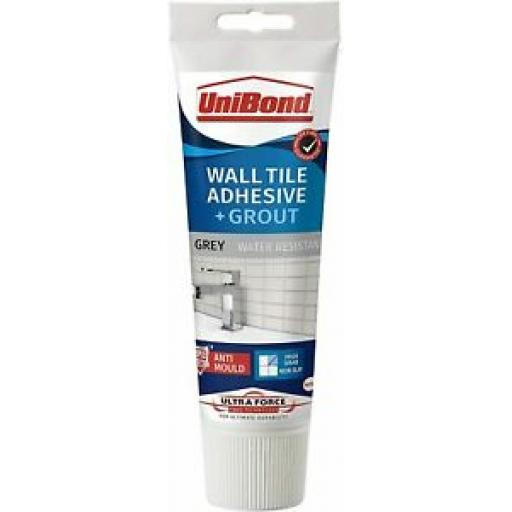 Unibond Wall Tile Adhesive And Mould Grout Tube Triple Protection Grey 300g