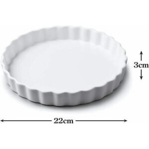 Wm Bartleet Fluted Crinkle Edge Flan Dish White Porcelain Medium T161 22cm