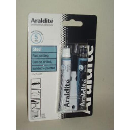 Araldite Steel Metal Fast Setting Strong Adhesive Glue 2 x 15ml