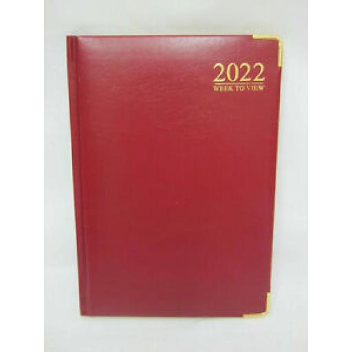 Tallon Week To View Diary A5 2022 Padded Back Red