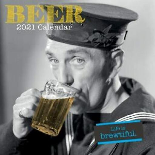 Square Glossy 16 Month Wall Calendar Beer 2021