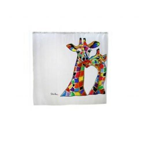 Croydex Textile Bath Shower Curtain Francie & Josie Giraffe 180cm x 180cm