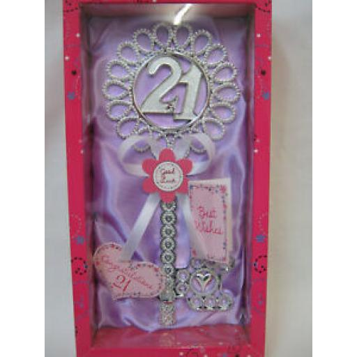 Giftzone Birthday Key Of The Door No 21 Birthday's Lilac With White Ribbon HK108
