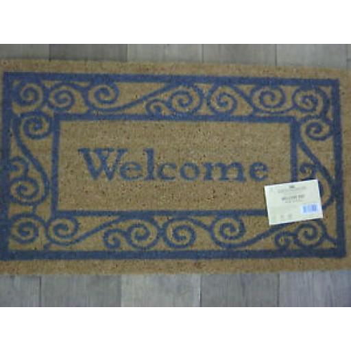 Groundsman Coir Doormat Grey Welcome Door Mat 40cm x 70cm GMDM70