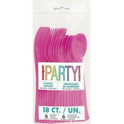 Unique Plastic Cutlery Knives Forks Spoons Pk 18 Hot Pink 39490