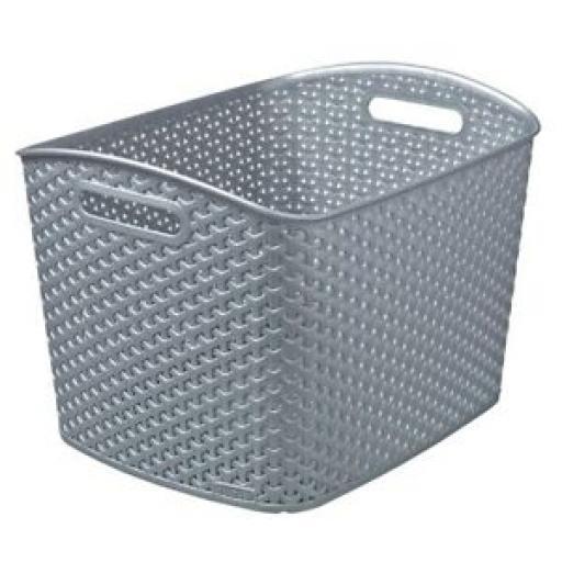 Curver My Style Rattan Storage Basket Handle Plastic XL 235072 Grey 28L
