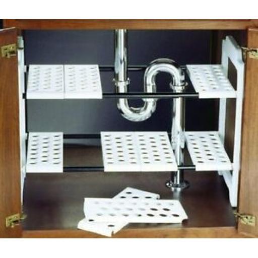 Addis Under Sink Adjustable Storage Shelves Solution White 506881